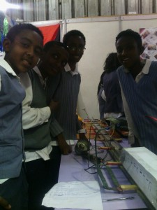 Students participating to a science-based event