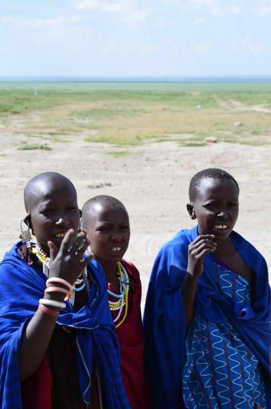 Masai children at the border with Serengeti